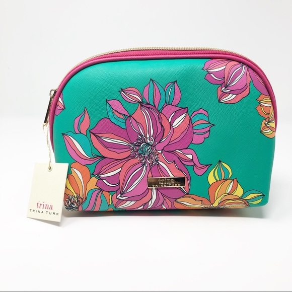 Trina Turk Handbags - New Trina Turk Green & Yellow Floral Cosmetic Bag
